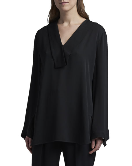 Giorgio Armani Folded Silk V-Neck Tunic