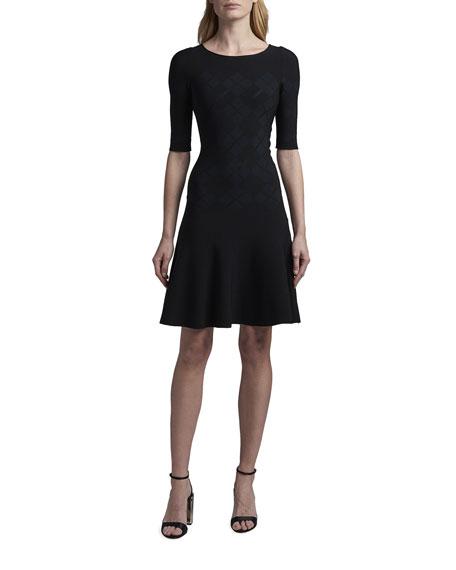 Giorgio Armani Argyle Jacquard Elbow-Sleeve Fit-and-Flare Dress