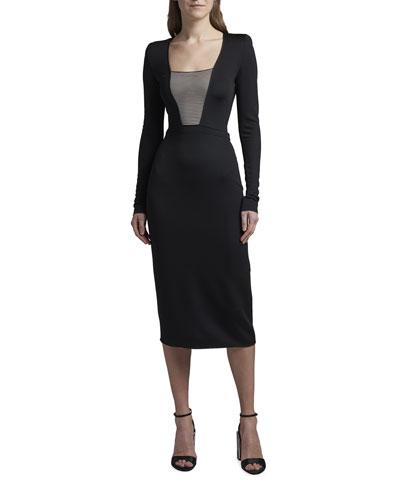 Striped-Bodice Jersey Bodycon Dress