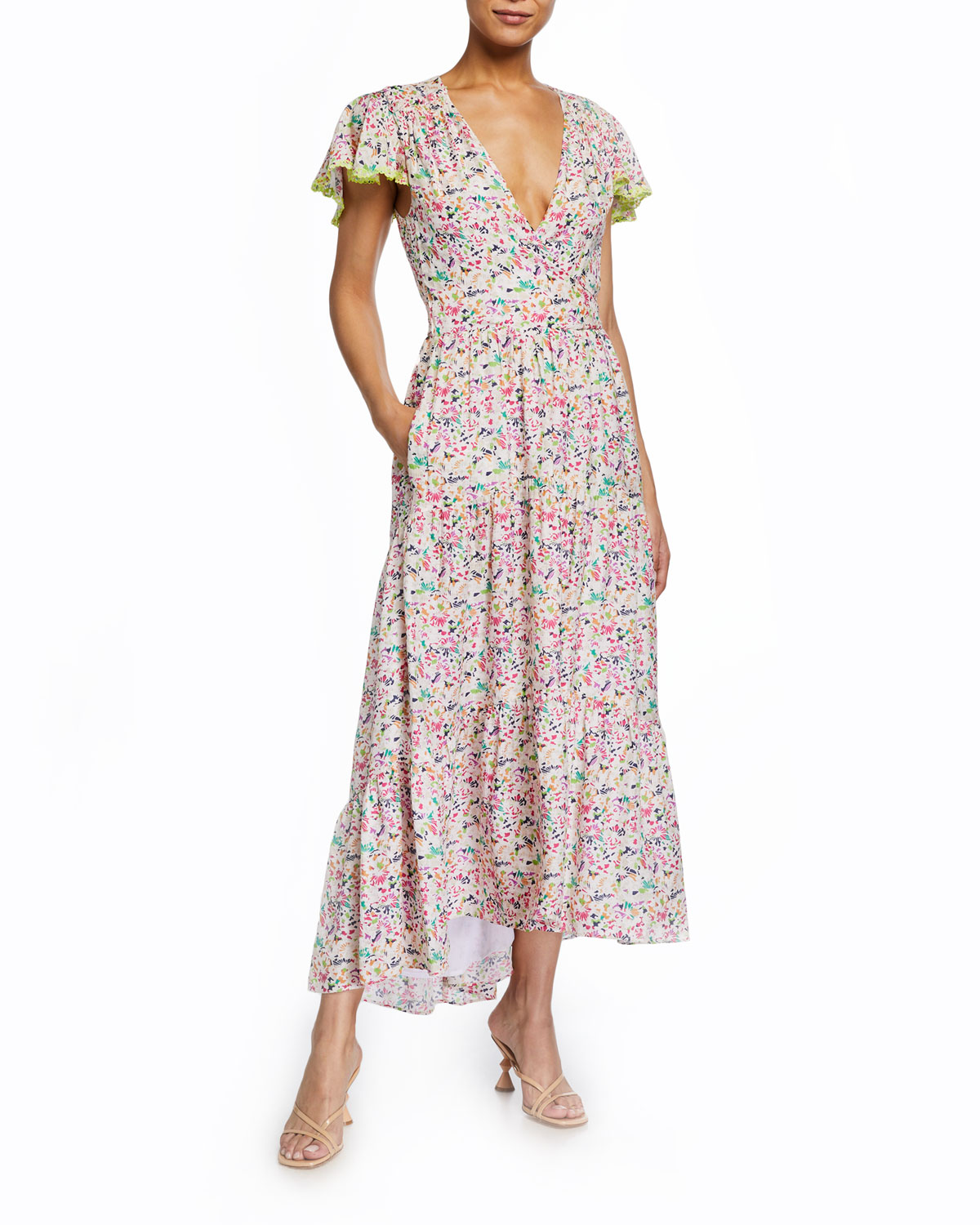 Tanya Taylor Liza Floral Flutter-sleeve Wrap Dress In Confetti Ivory