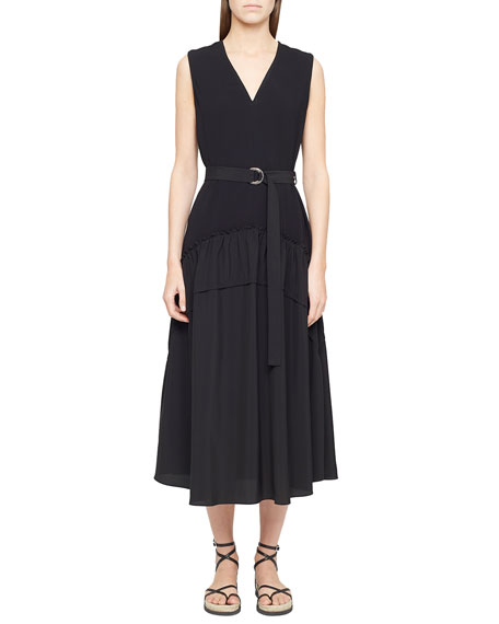 3.1 Phillip Lim V-Neck Crepe Tank Dress w/ Shirred Skirt