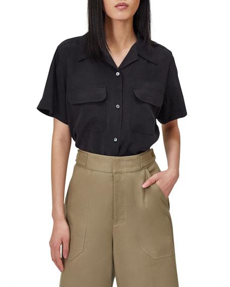 Equipment Amaia Short-Sleeve Button-Down Silk Top