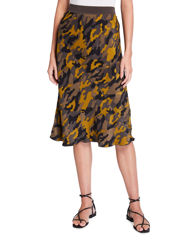 Silk Camo-Print Slip Skirt