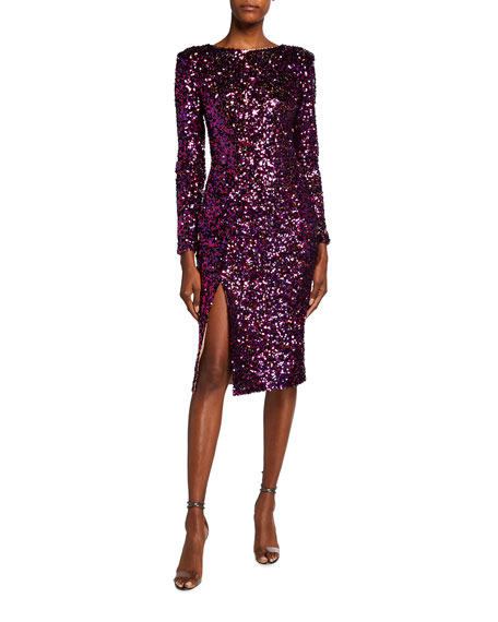 Dress The Population Natalie Sequined Long-Sleeve Thigh-Slit Dress
