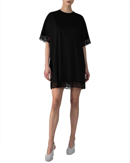 ATM Anthony Thomas Melillo Mini Jersey Dress w/ Lace Trim