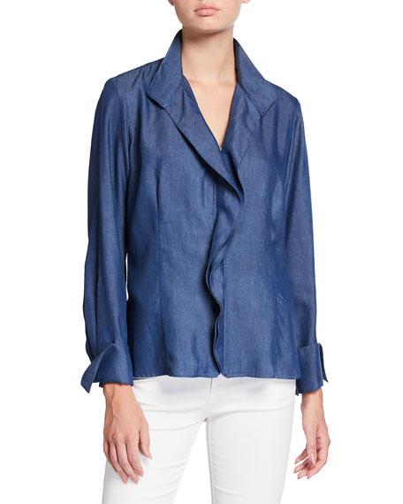 Finley Bentley Ruffled Zip-Front French-Cuff Lyocell Denim Shirt