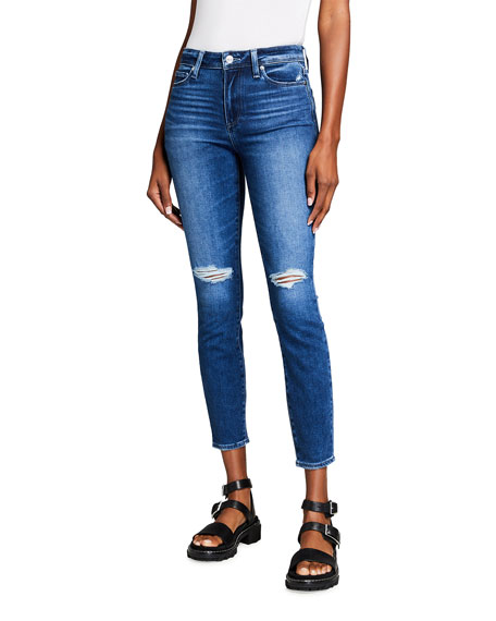 PAIGE Hoxton Skinny Distressed Ankle Jeans