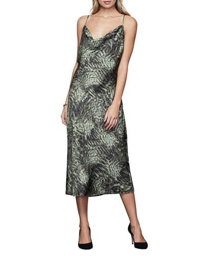 Jungle Print Cowl-Neck Bias Slip Dress - Inclusive Sizing