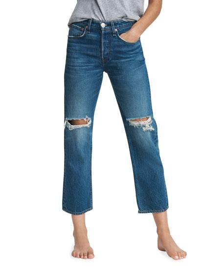 Rag & Bone Maya High-Rise Ankle Straight Distressed Jeans