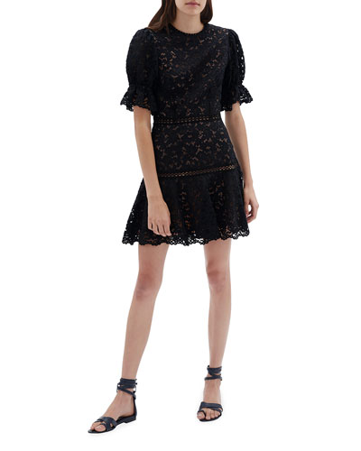 Puff-Sleeve Corded Lace Mini Dress