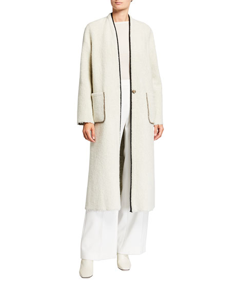 Forte Forte Reversible Wool Boucle Coat with Metallic Trim