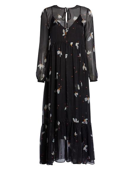 Forte Forte Mahonia Print Silk Chiffon Long Flounced Dress