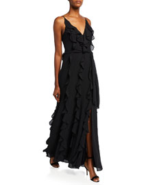 Kay Unger New York Strapless Chiffon Gown  :  bow gown kay unger train