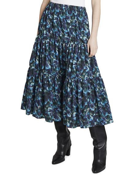 Kenzo Elasticized Printed Midi Skirt