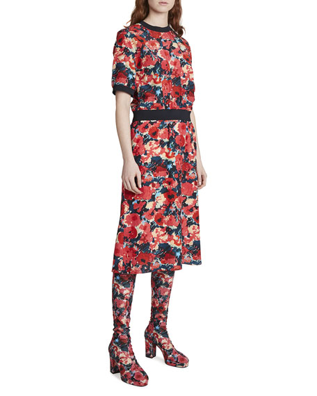 Kenzo Floral-Print Tee Dress with Banded Waist