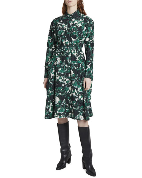 Kenzo Printed Shirting Long-Sleeve Dress with Smocked Waist