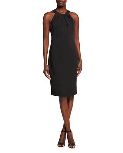 Pleated Halter-Neck Sheath Dress
