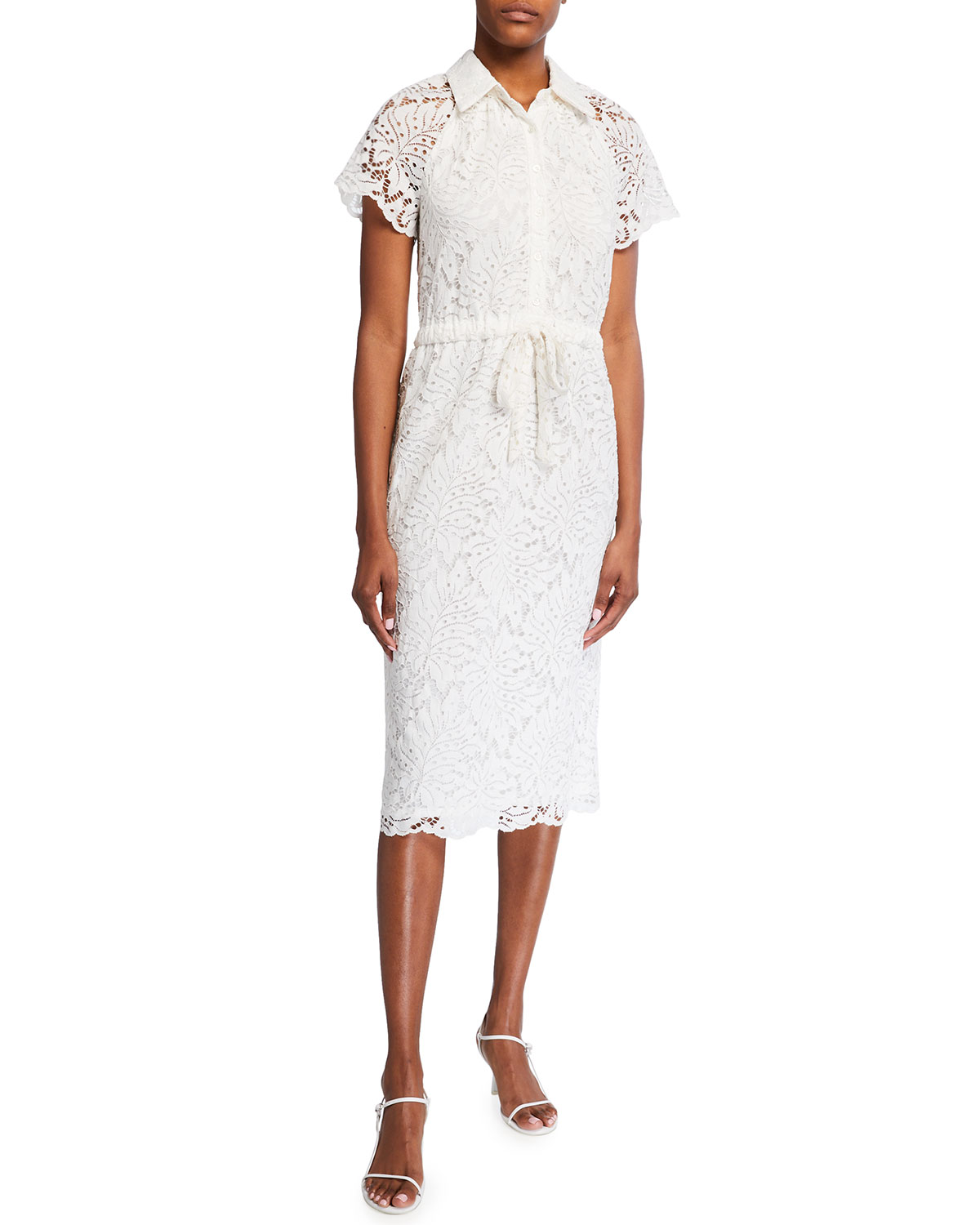Lakeside Tie-Waist Midi Lace Dress