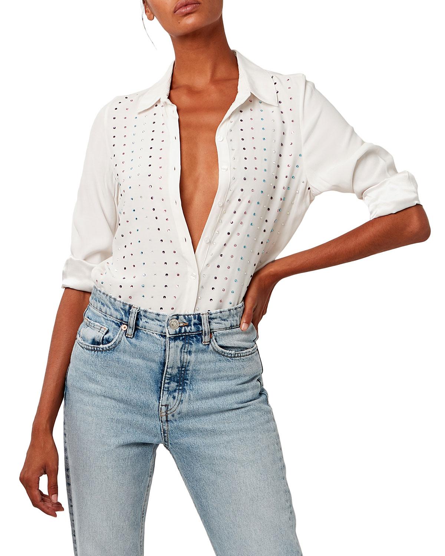 Paloma Jeweled Button-Up Blouse
