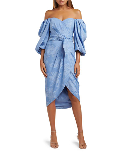 Off-the-Shoulder Puff-Sleeve Belted Dress