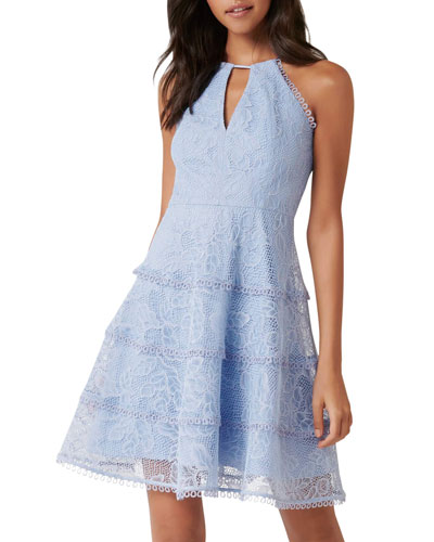 Elandra Tiered Lace Halter Dress