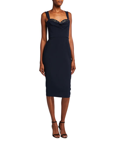 Embellished Cowl-Neck Crepe Sheath Dress