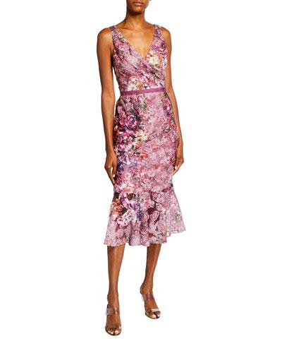 Floral Printed Soutache V-Neck Sleeveless Ruffle-Hem Dress