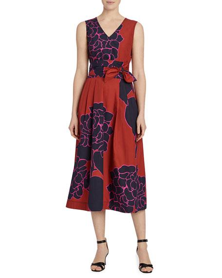 Lafayette 148 New York Vienna Hydrangea Print Sleeveless Dress