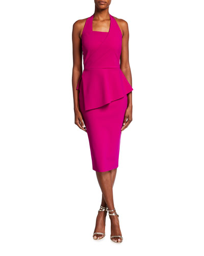 Jilliam Asymmetric Peplum Jersey Halter Dress