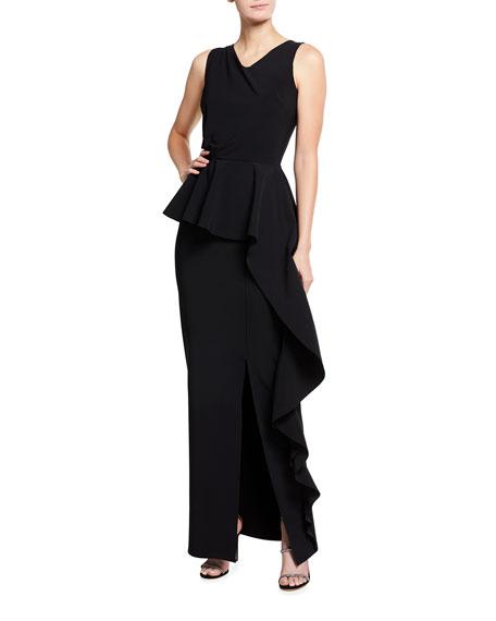 Chiara Boni La Petite Robe Sonky Asymmetrical Peplum Gown