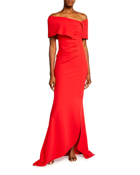 Chiara Boni La Petite Robe Egida Asymmetric Off-the-Shoulder Mermaid Gown