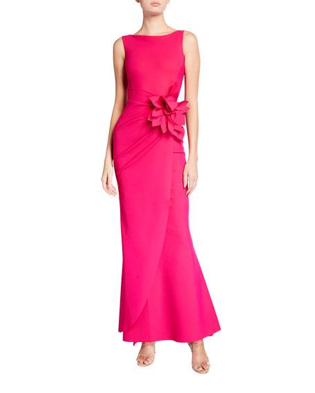 Chiara Boni La Petite Robe Glenaly Sleeveless Floral Embellished Wrap Gown