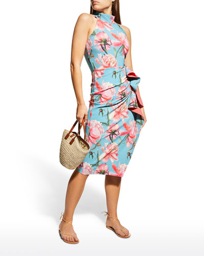 Amenadiel Floral Print Side-Drape Halter Dress