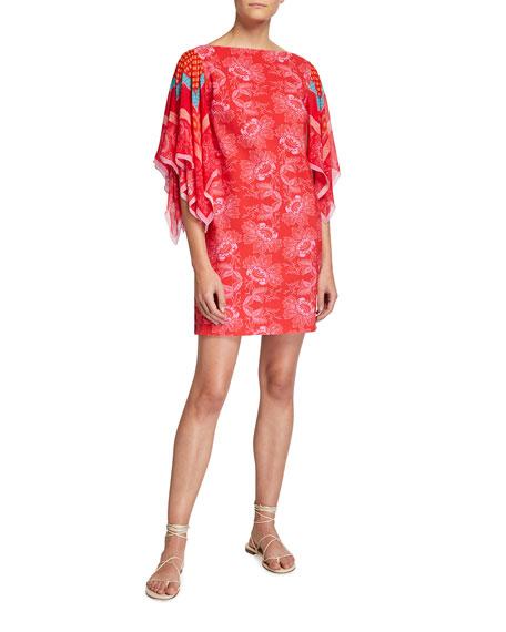 Chiara Boni La Petite Robe Karice Floral Print Flutter-Sleeve Dress