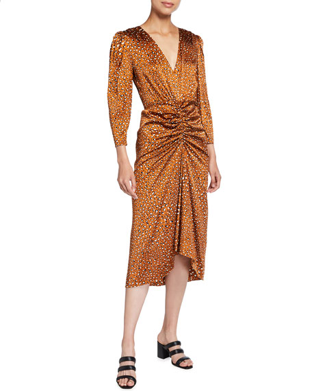 Veronica Beard Mary Leopard-Print Silk Midi Dress