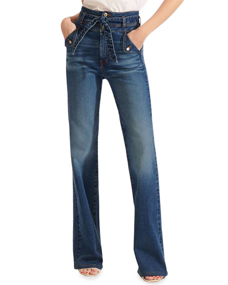 Veronica Beard Jeans Giselle High-Rise Skinny Flare Jeans