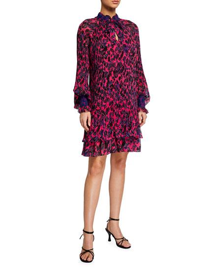 Derek Lam 10 Crosby Eugenia Printed Dress with Smocking