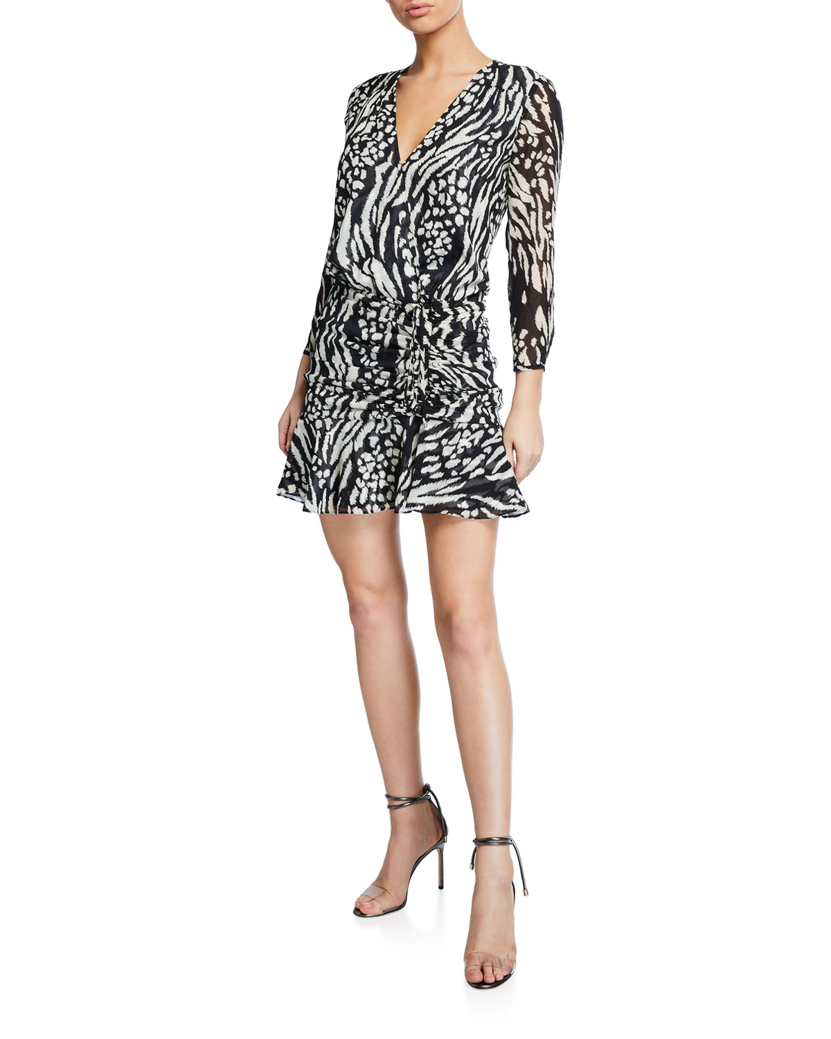 VERONICA BEARD KIRAN RUCHED LONG-SLEEVE FLOUNCE DRESS