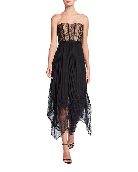 Jonathan Simkhai Scarlett Strapless Pleated Midi Dress