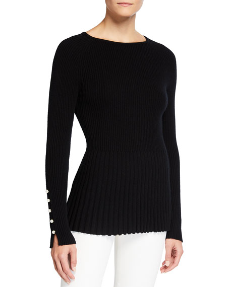 Neiman Marcus Cashmere Collection Pearl Cuff Ribbed Peplum Cashmere Sweater