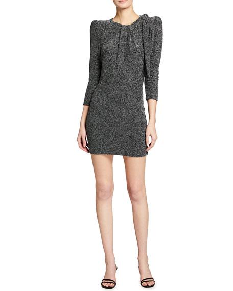 Iro Perk Long-Sleeve Metallic Tie-Neck Dress