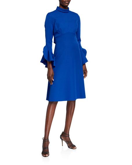 Rickie Freeman for Teri Jon Mock-Neck Flutter-Sleeve Stretch Crepe A-Line Dress