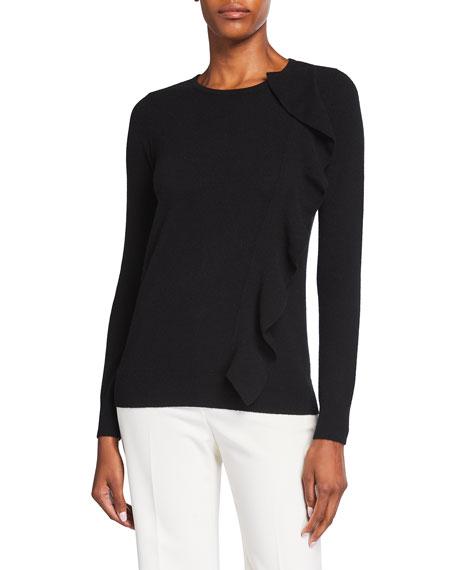 Neiman Marcus Cashmere Collection Side Ruffle Crewneck Cashmere Sweater