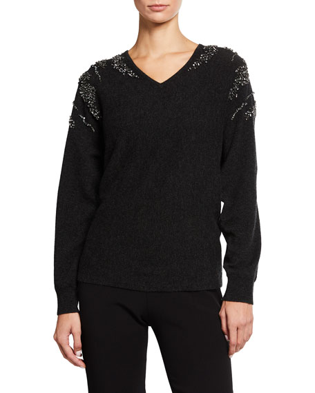 Neiman Marcus Cashmere Collection Waterfall Embellished Dolman Cashmere Sweater