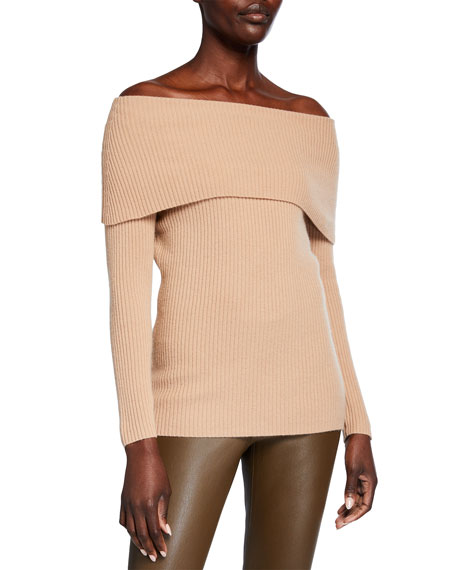 Neiman Marcus Cashmere Collection Cashmere Off-the-Shoulder Ribbed Pullover Sweater