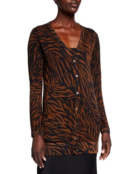 Neiman Marcus Cashmere Collection Superfine Tiger Stripe V-Neck Cashmere Cardigan