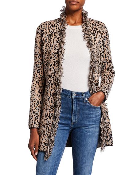 Neiman Marcus Cashmere Collection Leopard Intarsia Double-Knit Fringe Trim Cashmere Cardigan