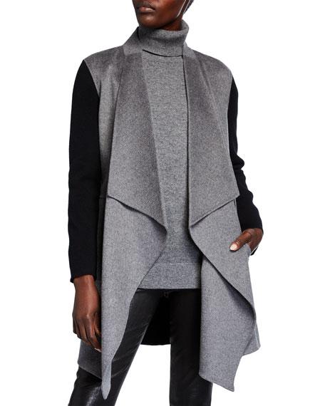 Neiman Marcus Cashmere Collection Double Face Colorblock Draped Long Cardigan
