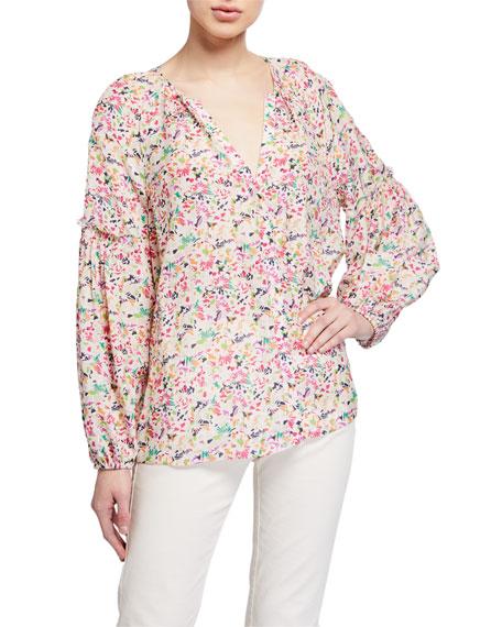 Tanya Taylor Illa Floral-Print V-Neck Top