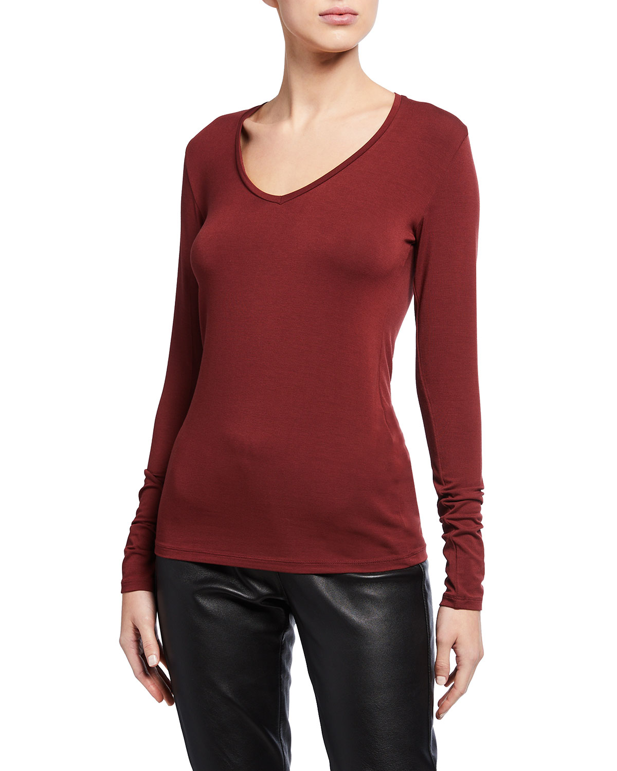 V-Neck Long-Sleeve Soft Touch Tee